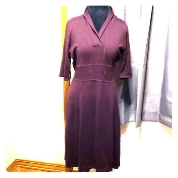 Calvin Klein Dresses & Skirts - Calvin Klein Dark purple sweater dress v neck
